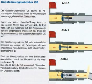 Gasströmungswächter GS  3 kg/h Einbaulage D