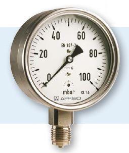 Feinmanometer Niederdruck   0 - 60 mbar  Ø = 100 mm  /   G 1/2