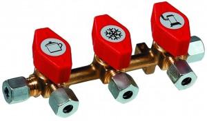 Schnellschluss- Verteilerblock 3 Abgänge RVS x 3 x RVS 8