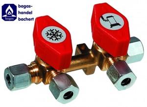 Schnellschluss- Verteilerblock 2 Abgänge RVS x 2x RVS 8
