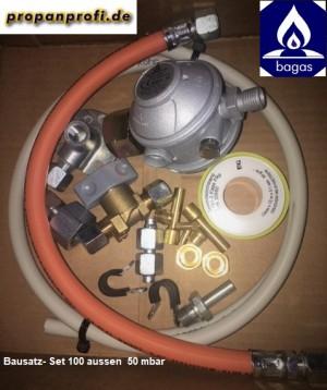 """Propangasanschluss Bausatz-Set C\""""aussen WiCu 8/1000 mm\"""" 1,5 kg/h"""