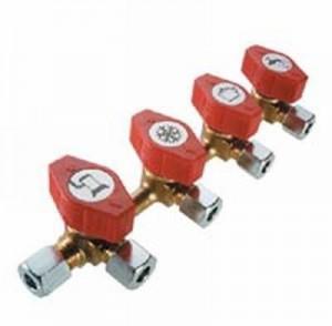 Schnellschluss- Verteilerblock 4 Abgänge RVS x 4 x RVS 8